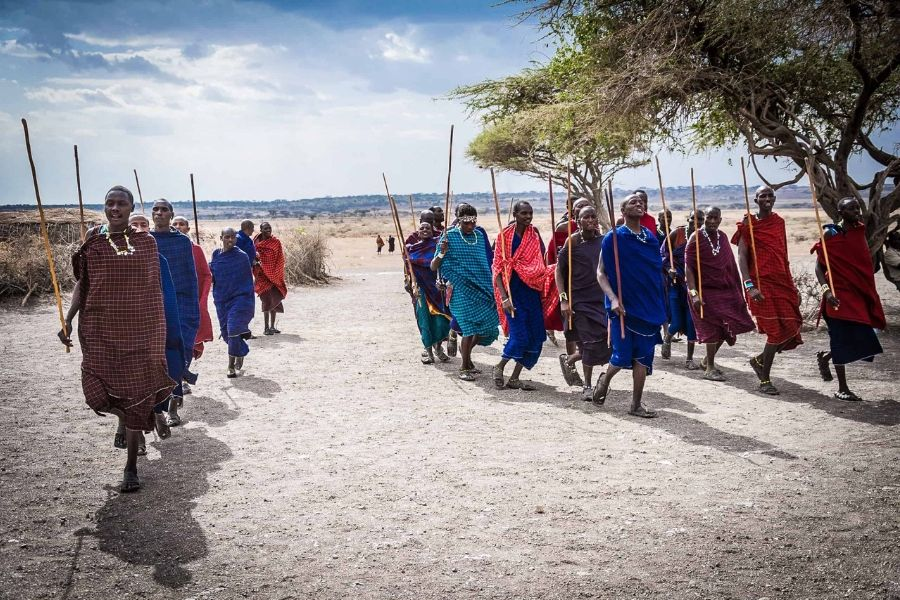 Masaai Tribe marching towards the camera wearing traditional plaid dresses, holding spears | Flash mctours and Travel