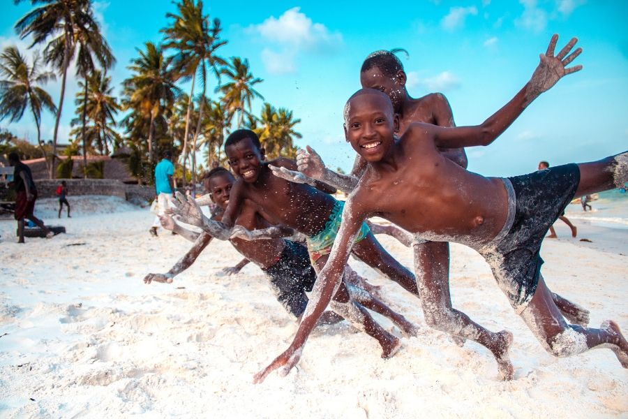 Children playing in Mombasa beach